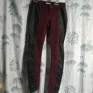 LEATHER BURGUNDY JEANS